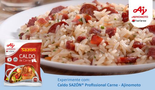 Arroz Carreteiro feito com o delicioso Caldo SAZÓN® Profissional Carne (Ajinomoto)
